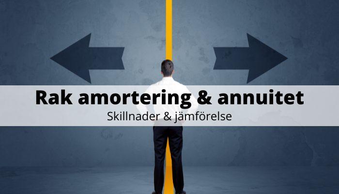 Rak amortering & annuitet - skillnader